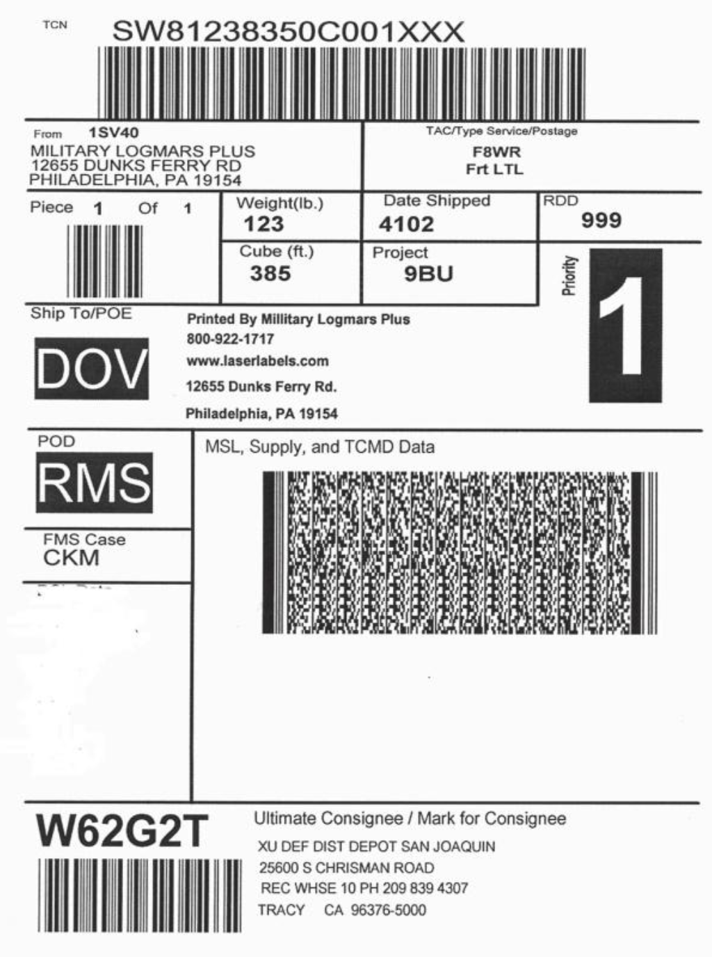 MSL military shipping label